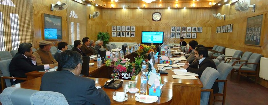 CEO Al-Ahad Mr. Nabi delivering Presentation about online ration card system to CS and all secretaries of GB
